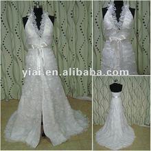 JJ2688 lace halter neck halter top beach wedding dresses front split