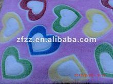 heart design burn out coral fleece fabric