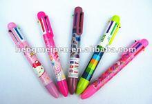 cute fashion multi 6 color ball pen