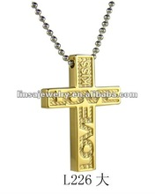 wholesale men's old plated stainless steel cross pendant