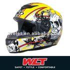 White ECE Full face helmet WLT-101/3# Lemon/Skull