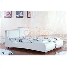 Modern design white king size leather bed I2887#
