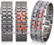 LED faceless watch Iron Samurai All Metal red LED watch Lava style watch