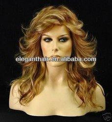Charming long Wavy Brown women's machine wig