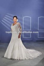 BPW-11 2015 hot sale custom made plus size Mermaid lace three quarter sleevesatin Wedding Dress