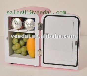 かわいい小さな4lポータブル小型冷蔵庫