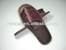 Imprinted satin smooth ,black eva sole disposable slipper