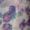 Purple flower fashion transfer golden printing chiffon fabric