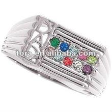 2012 fashion Dad's Silver and Genuine rhinestone Family Birthstone Name Ring