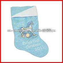 Velvet perfect baby christmas stocking with lovely cartoon/Xmas socks