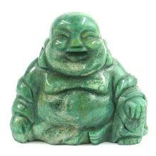 "Laughing Buddha 2"" Gemstone Sculpture South Africa Jade"