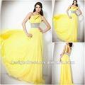 2013 novo elegante sexy uma - ombro assimétrico do piso - comprimento chiffon amarelo coquetel da dama de honra vestido de noite