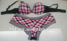 latest polyamide &lace printing brassiere panty sets