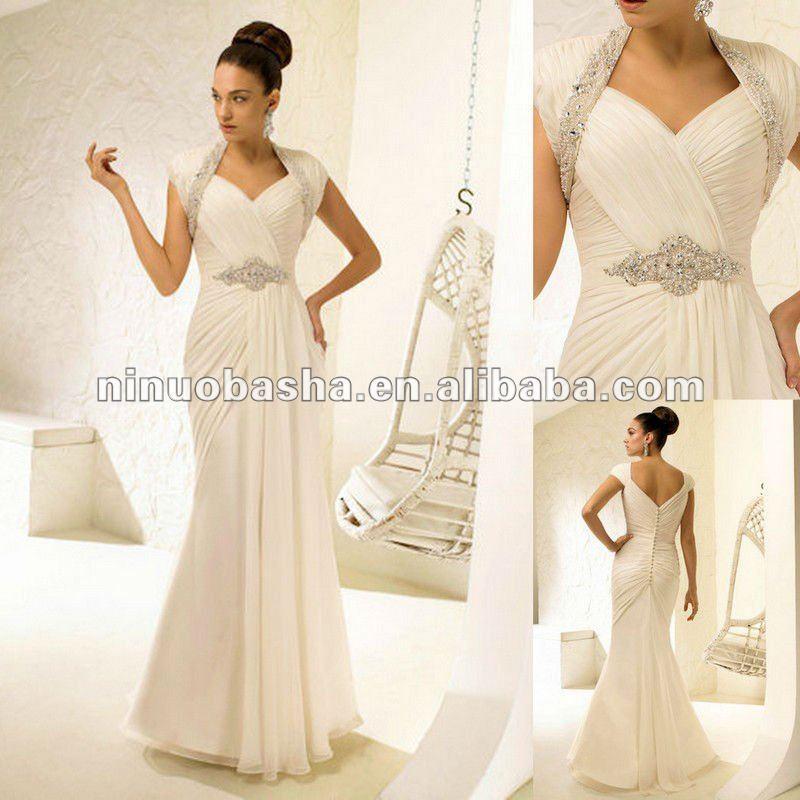 Greco - stile incorniciato da capped manica cinghie abito da sposa