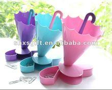 Innovative design multi function umbrella plastic pen container