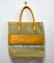 yellow mesh hand shopping bag