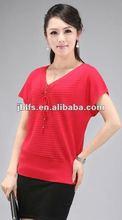 lady's Korean stylish top grade V-collar slim t-shirts