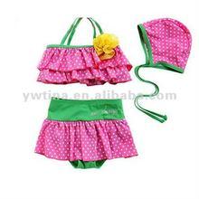 2012 New style Hot pink w green swimwear for kids/ Baby Swimsuit/Baby Bathing Suit/Swimwear for girls