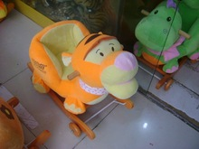 pink stuffed tiger baby rocking animals chair with wooden base