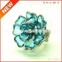 Blue Flower enamel stretch rings design for 2012