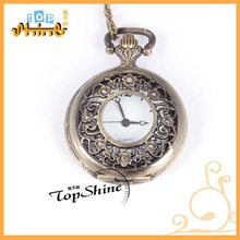 2012 fashion wholesale skeleton flower in case locket watch necklace with antique brass pocket watch necklace pendant D01132o