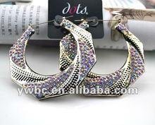 colorful crystal rhinestone hoop earring designs for women (E103030)