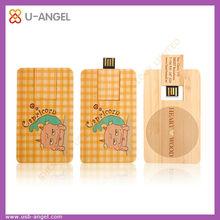 Natural product card shape wooden usb memory stick,ultra thin bamboo usb flash drive 4gb