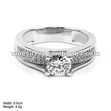 RZK0004 925 Sterling Silver Ring Mirco Pave Setting Cubic Zircon Engage Ring