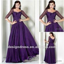 Hot sale free shipping chiffon beading purple long sleeve prom dress 4872