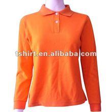 Women orange plain long sleeve polo shirt
