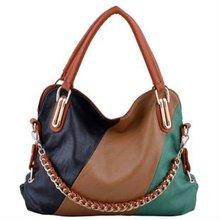 black/brown /green 2012 newest design fashionable handbags with golden hardware