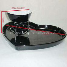 Nice Heart shape ceramiac chocolate fondue set for BS12093B