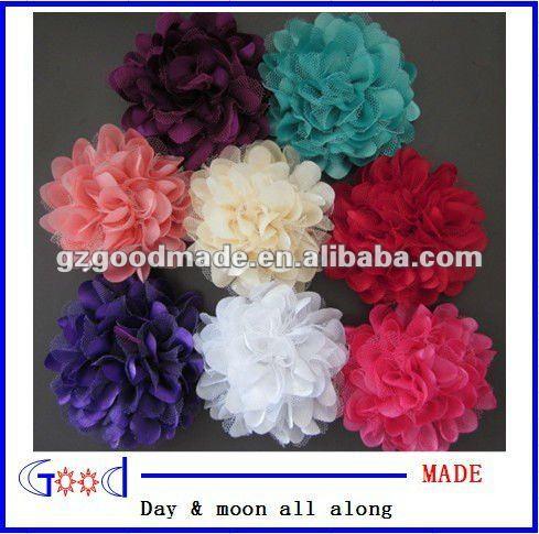 8 cores de cetim e tule apliques de flores de tecido broche