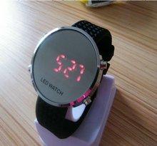 round mirror silicone led bracelet watch 2012