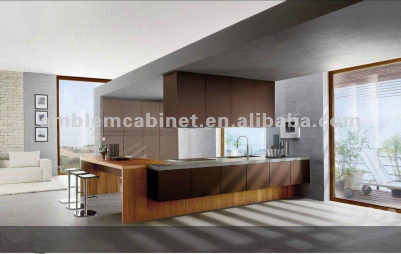 Design moderne laque mixte bois placage d 39 armoires de for Voir cuisine moderne