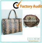 fashion snake pattern jute pu big tote bag