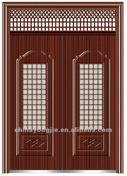 Double steel security main door grill designs sd 226 yiwu for Office main door design