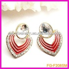 Fashion jewelry metal heart with round crystal stand earring
