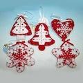 Rojo y blanco estrella artesanía adorno del árbol de navidad