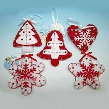 Red and white star crafts christmas tree ornament