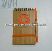 Eco friendly Bamboo cover stone paper notebook