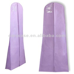light purple showerproof non woven wedding dress cover, gown bag with a clear pvc window