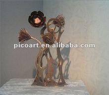 Hindou lotus seedpod conception de fer sculpture/statue, jardin décoratif
