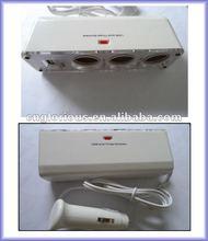 Car Cigarette Lighter three Socket Splitter DC 12V +USB charger supply and Triple socket