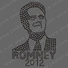 Romney 2012 iron on political rhinestone motif design