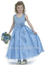 FG-021 Beaded Straps Fairy Flower Blue Girl Dress With Flower