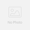 Round clear glass kitchen canister set with decals and iron rack