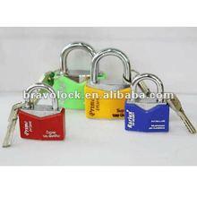 color plastic coated diamond shape padlock iron