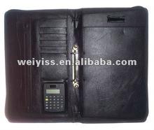 a4 genuine leather zipped portfolio with calculator