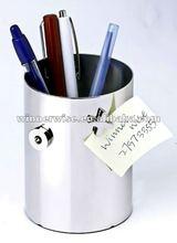 Cylindar Shape Metal Pen Holder - Silver